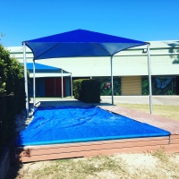 Sand pit cover and shade sail